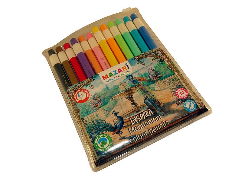 Карандаши цветные 12 шт Mazari Inspira автоматические