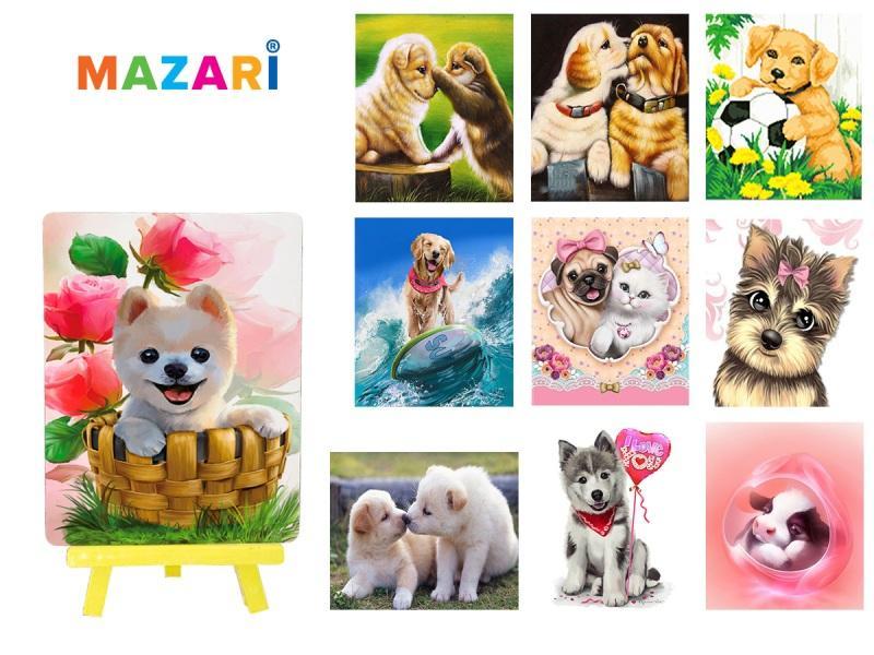 Картина стразами Собаки с мольбертом 21х25 см