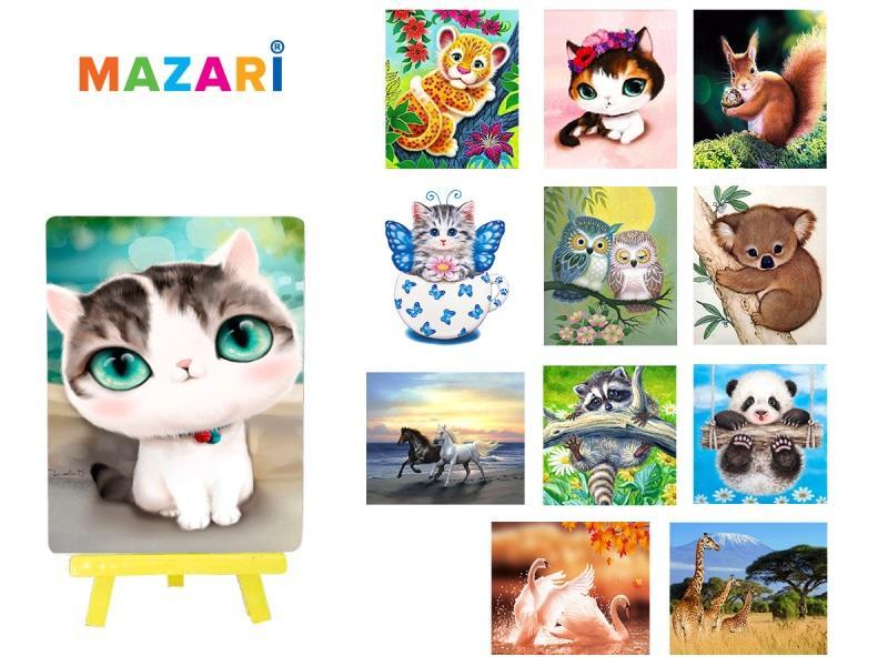 Картина стразами Животные с мольбертом 21х25 см