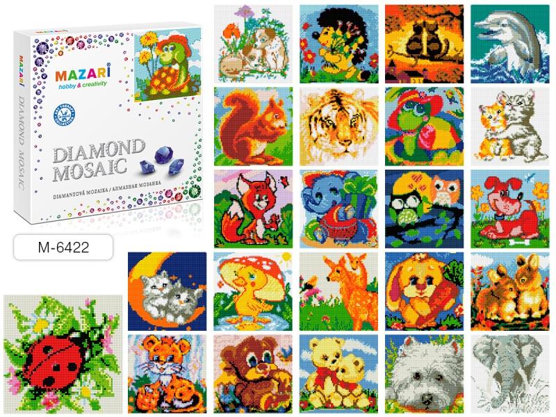 Картина стразами Забавные зверята полная выкладка 20х20 см